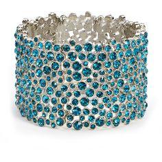 Turquoise Fashion Bracelet, Rhinestone Stretch Bracelet, Teal... ($35) ❤ liked on Polyvore