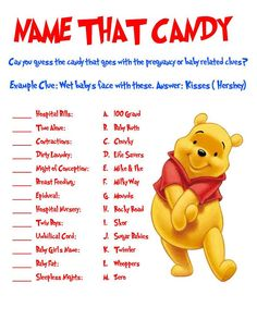 Winnie the Pooh Name that Candy Game by AllThingsParty on Etsy