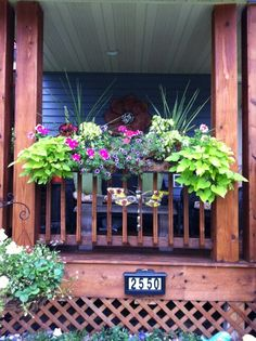 Front view of porch Summer decorating