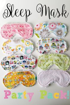 8 Piece Sleep Mask Party Pack Party Favor Party Gift by ThreeSchatze on Etsy Slumber Party Birthday, Kids Spa Party, Sleepover Birthday Parties, Girl Sleepover, Pamper Party, Sleepover Crafts, 9th Birthday, Slumber Party Ideas, Pajama Party Kids