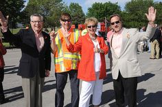 Jim Hanni, David LaRoche, Sally Lunsford and Steve Swartz show off their orange at the work zone safety event in Topeka on April 24. Learn more about work zone safety at www.ksdot.org April 24, Sally, David, Orange, Coat, Jackets, Fashion, Down Jackets, Moda