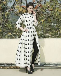 Buy The Secret Label Off White Cotton Printed Front Cut Kurti online in India at best price. Classy and chic, this white triangular ikat cape is sure make heads turn. Comes with a mandarin coll Kurti Designs Party Wear, Kurta Designs, Blouse Designs, Front Cut Kurti, Indian Dresses, Indian Outfits, Kurti With Jeans, Ikkat Dresses, Designs For Dresses