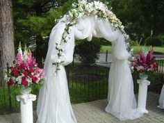 Before you plan the wedding arch decorations, for the first, you need to decorate it with twine tulle all round the arch. Description from pinterest.com. I searched for this on bing.com/images