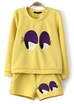Yellow Long Sleeve Eyes Embroidered Sweatshirt With Shorts US$31.67