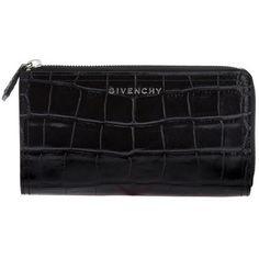 Rosie Huntington-Whiteley wearing Givenchy Croc Embossed Half Zip Pandora Wallet.