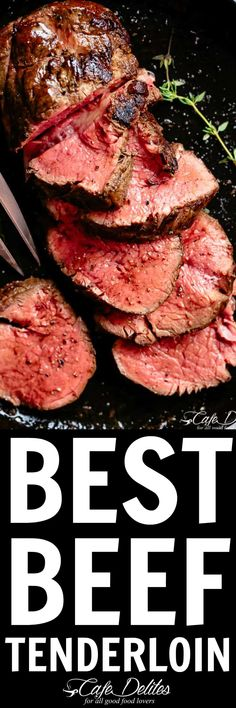 The best, juicy roast Beef Tenderloin slathered with garlic butter that melts in your mouth with every bite! Beef Tenderloin Recipes, Beef Tenderloin Roast, Beef Dishes, Food Dishes, Main Dishes, Pasta, Carne, Cafe Delight, Meat Recipes