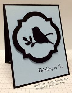 handmade card .... black and white ... bird punch silhouette ... frame made with on pass through the Big Shot ... could be a sympathy card ... Stampin' Up!