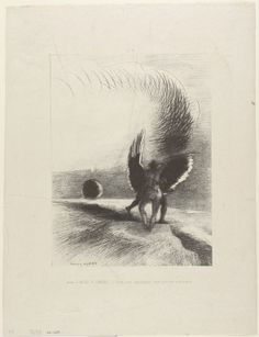Odilon Redon - Beneath the Wing of a Shadow the Black Creature was Biting Energetically, plate 4 of 6, 1891, Lithograph | The Art Institute of Chicago