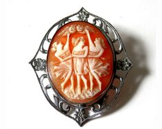 Art Deco Carved Three Graces Cameo Set in Sterling