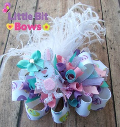 Pastel Easter Bunny Boutique Funky Bow with by LittleBitBows