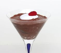 Chocolate Mousse made with coconut milk and chocolate.     Chill 1-15oz can open overnight in the fridge. Scrap the top off and leave the liquid (use for a smoothie or find another recipe). Whip for about 5 minutes and use as a whip cream or fold in 4oz of melted chocolate and chill for a mousse
