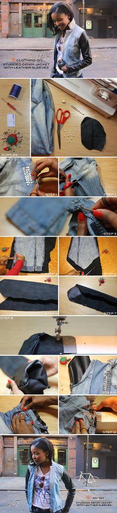 Frugal-nomics DIY :: Studded Denim Jacket with Leather Sleeves. Details at http://frugal-nomics.com/2013/01/diy-studded-denim-jacket-with-leather-sleeves/
