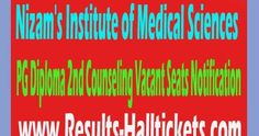 NIMS 2016 PG Diploma 2nd Counseling Vacant Seats Notification