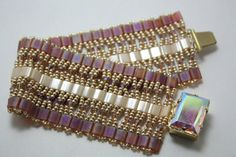 Tila Bead Cuff Bracelet with Swarovski Crystal and Seed by Xazzles, $49.00