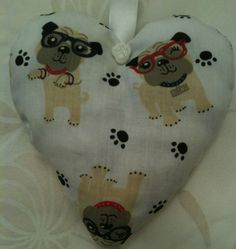 Funky Bull Dog Fabric Heart Lavender Bag - Handmade