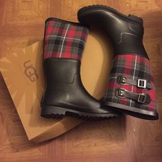 Ugg authentic water resistant rain boots Black boot with red and gray plaid. Feet will be warm and dry ..worn once super comfy. Shoes Winter & Rain Boots