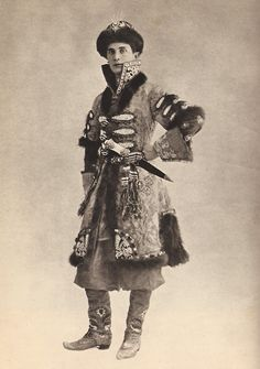 Prince Felix Youssoupoff dressed for the revised Eglinton Tournament of 1912, in eighteenth-century Russian robes trimmed with sable and jewelled embroidery.