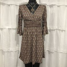 SMALL - MAX STUDIO Bell Sleeve Empire Waist Dress  | eBay