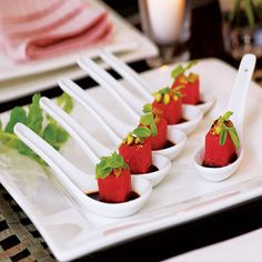 spoon appetizers~watermelon and reduced balsamic