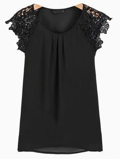 Crochet Flower Sleeve Top in Black   Choies