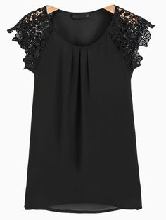 Crochet Flower Sleeve Top in Black | Choies