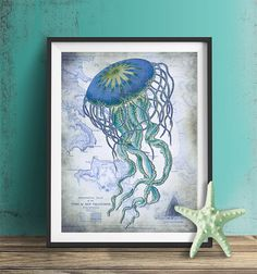 Nautical print  Jellyfish On image of Nautical Map by NauticalNell