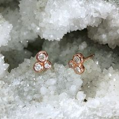 Do you have a bunch of jewelry you're not wearing? We can help! these earrings were custom designed using a client's stones - but we loved them so much, we added the style to our permanent collection! Recycled 14k rose gold and heirloom diamonds.