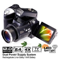 12.0 MP 2.4 Inch LCD Black Digital Camera with 8x Zoom (Low Price, Great Quality)