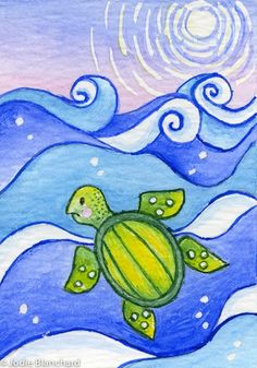 """Turtle Painting Aceo Print 2.5 x 3.5 """"Moonlight Turtle"""""""