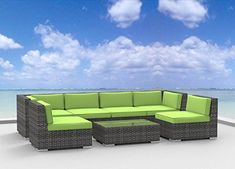 Urban Furnishingnet  OAHU 7pc Modern Outdoor Backyard Wicker Rattan Patio Furniture Sofa Sectional Couch Set  Lime Green ** Click image to review more details.-It is an affiliate link to Amazon. #Sofa