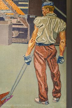close up of mosaic depicting man with industrial tongs and large arm muscles