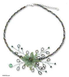 Peridot flower necklace, 'Elusive Blossom' - Handcrafted Floral Beaded Quartz Necklace (image 2a)
