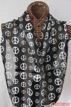 Scarf Peace Sign Black White NWT 13x60 Long Neck New Tag Washable #Unbranded #Scarf #Any