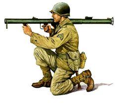 1944 Infante americano con lanzagranadas