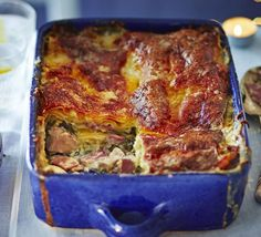 Chicken and Ham Lasagne. This comforting dish of layered pasta sheets, meat and spinach is topped with gooey, melted cheese - freeze now for entertaining later Chicken Lasagne, Lasagne Dish, Chicken Ham, Lasagne Recipes, Savoury Recipes, Pasta Recipes, Chicken Recipes, Bbc Good Food Recipes, New Recipes
