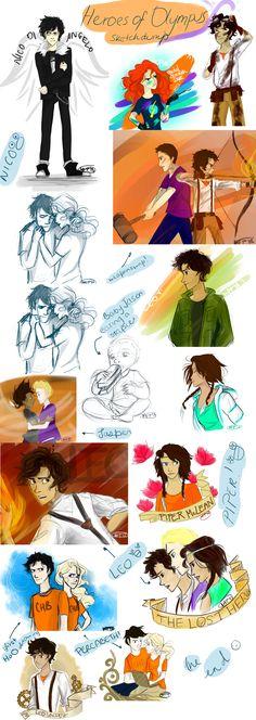 Heroes of Olympus sketchdump by Vanilla-Fireflies.deviantart.com on @deviantART