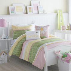 girl children kids teen duvet bedding pink yellow lemon green daisy theme