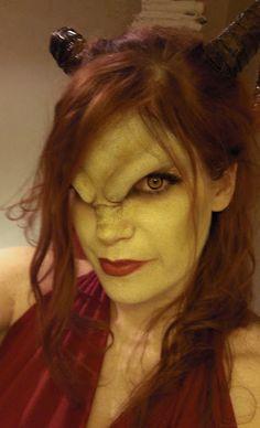 Demon makeup---I love how she built the brows with prosthetics Demon Makeup, Sfx Makeup, Cosplay Makeup, Costume Makeup, Body Painting, Demon Costume, Prosthetic Makeup, Movie Makeup, Halloween Make Up