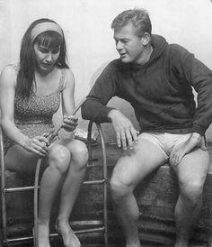 Martin Milner & Diane Baker on set. Martin Milner, Adam 12, Saloon, Western Movies, Route 66, On Set, Family Life, Pretty People, Vintage Men