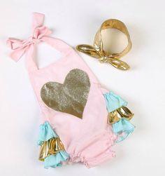 Baby Girl Pink Gold Heart Romper