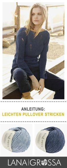"""#Gratis #Strickanleitung für einen Pullover mit Fallmaschenmuster aus Lana Grossa""""Solo Lino Mélange"""" / #free knit tutorial for cool sweater via lanagrossa.de"""