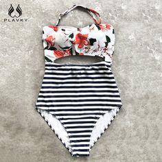 54d706e741969b PLAVKY Sexy Halter Bandeau Floral Streifen Hohe Taille Schnitten Trikini  Swim Badeanzug Monokini Bademode Frauen Badeanzug