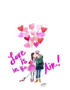 """Love is in The Air"" Print by Marnani Design Studio. Artwork by Illustrator Martha Napier www.marnani.com"
