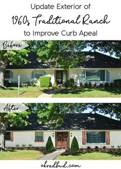 Update exterior of 1960s traditional ranch to improve curb appeal on a budget!