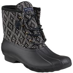 Stomp out the rain with the Saltwater Boot in impressive tribal print. Matte rubber duck shell detailing is paired with premium leather shafts for super Sperry Top Sider Boots, Sperry Duck Boots, Black Lace Up Boots, Black And White Shoes, Black 7, Fresh Shoes, Snow Boots Women, Cute Shoes, Sperrys