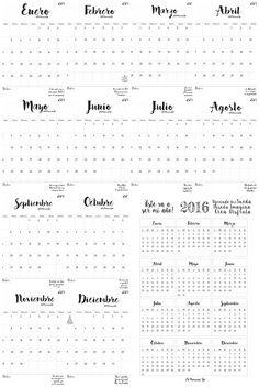 Calendarios mensual y anual 2016 en ESPAÑOL