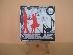 Ein schönes, reichlich verziertes Acrylbild – für ein Geldgeschenk, einen Gutschein oder eine Einladung rund um das Thema Tanzen. Egal ob Gesellschaftstanz, Volkstanz, Disco, Step, Salsa, Tango ...