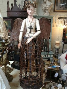 Santos Cage Doll with Woodland Theme-Large Wings, Antique vine crown and vine skirt- White Horse Relics