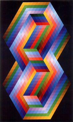 Victor Vasarely- The addition of colour to this piece shows the development of the artist as well as the development of the 'op art' era and the transition to from the old to new art movement. Optical Illusion Quilts, Optical Illusions, Grafik Art, 3d Quilts, Victor Vasarely, Quilt Modernen, Art Furniture, Grafik Design, Geometric Art