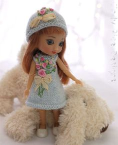 """Teensy Roses, a hand knit and (rose bouquet) embroidered dress for 4"""" Amelia Thimble and Izzy dolls."""